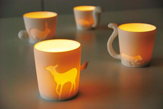 Một bộ cốc rất độc đáo của nhà thiết kế Linen, bộ cốc này khắc họa hình dáng đặc trưng của các con vật với phần đuôi là tay nắm của cốc.