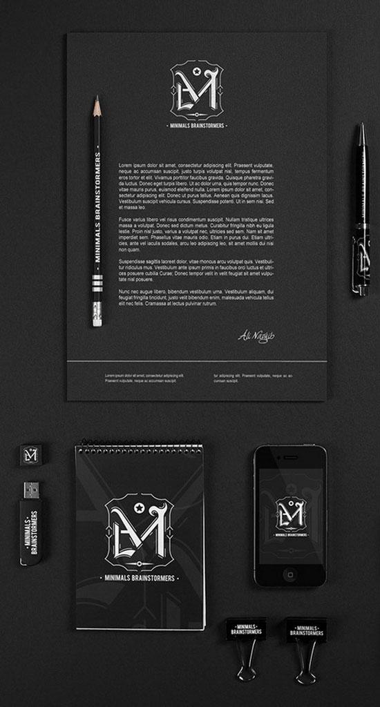 Minimal Brainstormers – A Retro Gothic Brand 25 bộ nhận diện thương hiệu không thể đẹp hơn