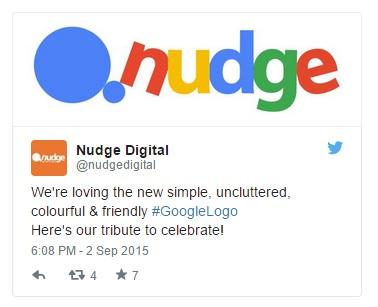 Công ty Nudge bày tỏ sự thích thú của mình bằng cách thiết kế nên một logo thương hiệu phỏng theo thiết kế mới của Google