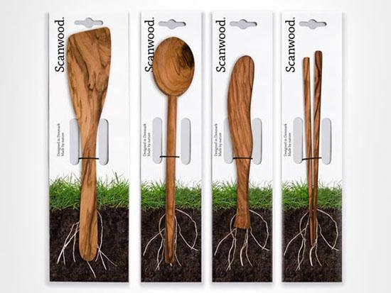 Bao bì thiết kế các vật dụng từ gỗ của Scanwood