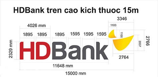 Sơ đồ lưới chi tiết logo mới của HD Bank