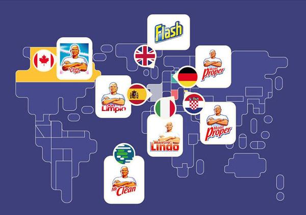 """Thương hiệu """"Mr.Clean"""", thuộc sở hữu của Procter & Gamble, thường được biên dịch theo ngôn ngữ từng quốc gia mà sản phẩm này có mặt. Tại Vương quốc Anh, thương hiệu này có tên là Flash vì cùng tên với một thương hiệu khác xuất hiện trước đó."""
