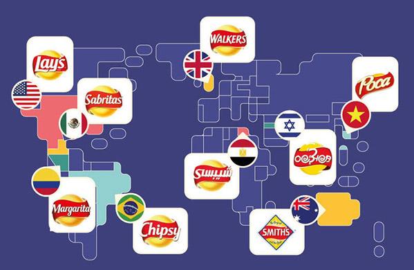Thương hiệu bánh snack Lay's của Pepsico có nhiều tên khác nhau trên thế giới nhưng tất cả đều được nhận biết bởi logo bên dưới. Tại Úc, thương hiệu The Smith's được Lay's thâu tóm nhưng vẫn giữ tên gốc. Có những vị giống nhau nhưng bao bì lại khác màu nhau giữa các thị trường, càng dễ tạo ra sự bối rối. Ví dụ: Sản phẩm có vị mặn và bị giấm sẽ bọc trong bao bì màu xanh lá ở Vương quốc Anh, nhưng ở Mỹ sẽ là màu xanh da trời