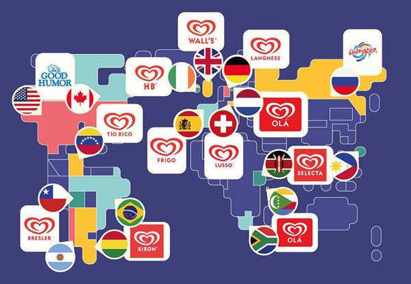 Thương hiệu Heartbrand của Unilever sử dụng một logo trên toàn cầu nhưng lại có nhiều tên khác nhau cho cùng một sản phẩm ở từng quốc gia. Ở Châu Á, thương hiệu kem này được biết là Kwality Walls, ở Bolivia là Breslers, còn ở Ireland chỉ đơn giản là HB