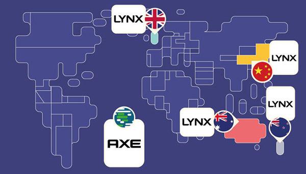 Unilever khai sinh thương hiệu Axe tại Pháp nhưng không thể sử dụng tên này ở một vài nơi vì một số vấn đề về nhãn hiệu. Do đó, thương hiệu Lynx được áp dụng cho vài quốc gia.