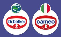 """Thương hiệu The Dr.Oetker hầu như đồng nhất trên thế giới, ngoại trừ Ý. Thương hiệu này đã đổi thành Cammeo để giống tiếng Ý và dễ nghe hơn trước khi bỏ ký tự """"m"""" thành Cameo."""