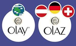 Nguyên gốc với 3 tên riêng lẽ là Oil of Ulay, Oil of Ulan và Oil of Olaz được sử dụng tùy theo khu vực địa lý, giờ đây thương hiệu này đã được cắt gọn và chuyển thành Olay hoặc Olaz cho những quốc gia nói tiếng Đức.