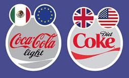 """Ở một vài quốc gia, từ """"diet"""" (ăn kiêng) không được dùng để mô tả thức ăn và đồ uống ít năng lượng. Vì thế Coca-Cola Light được sử dụng tại những quốc gia này. Theo thông tin của Coca-Cola, hỗn hợp chất làm ngọt được dùng trong sản phẩm được chế tạo theo nhu cầu tiêu thụ của người dùng."""