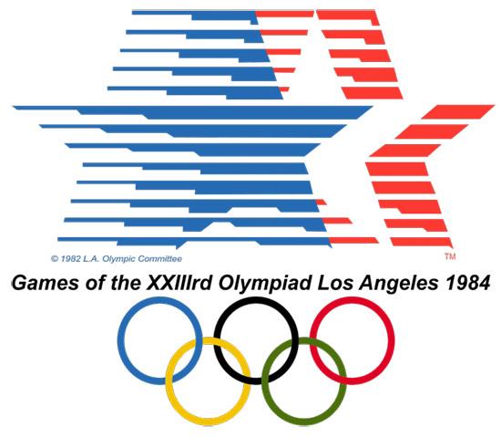Biểu tượng của Olympic Los Angeles 1984 là hình ảnh của lá cờ Mỹ tung bay