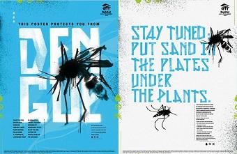 Poster quảng cáo tan ra trong mưa để diệt trừ muỗi