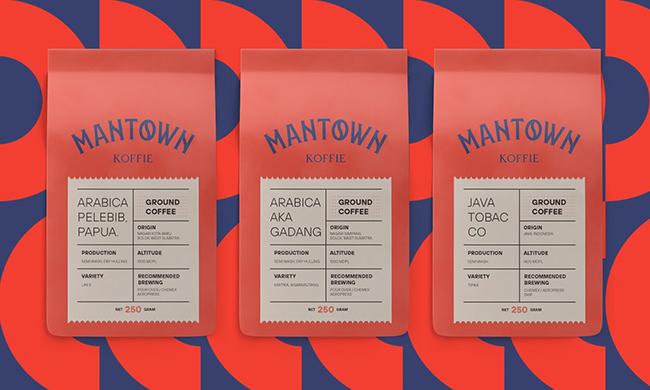 Khám phá thiết kế bộ nhận thương hiệu hình học ấn tượng của ManTown Koffie