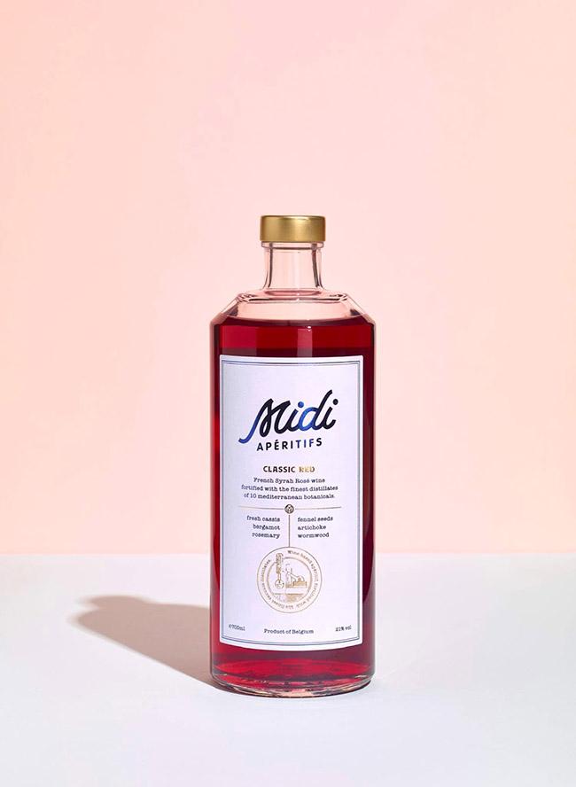 Mẫu thiết kế bao bì rượu hồng Midi Apéritifs lãng mạn