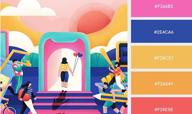 Những bảng màu rực rỡ cho thiết kế quảng cáo mùa hè