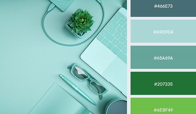 Gợi ý bảng màu xanh pastel cho thiết kế quảng cáo thương hiệu